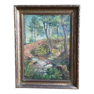 Ravens by Forested Stream Landscape Oil Painting For Sale