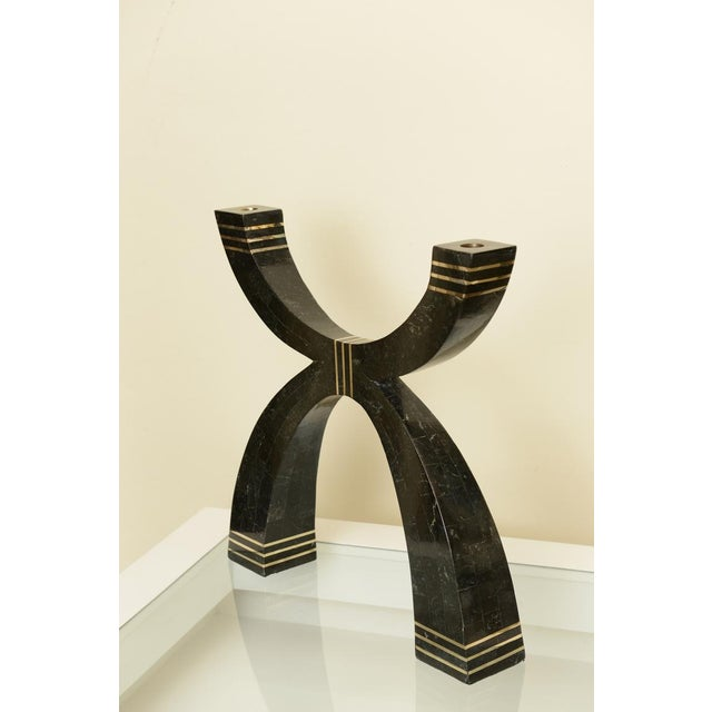 This amazing and monumental black stone and branded stepped brass candlebra or large candlestick has great presence. GREAT...
