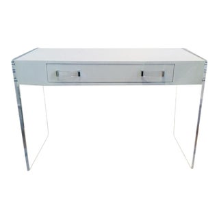 Modern Acrylic and White Lacquer Writing Desk