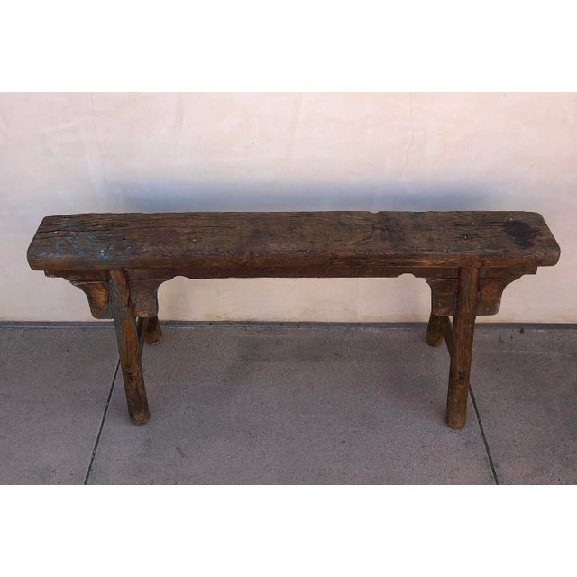Asian Antique Shandong Elm Wood Bench For Sale - Image 3 of 6