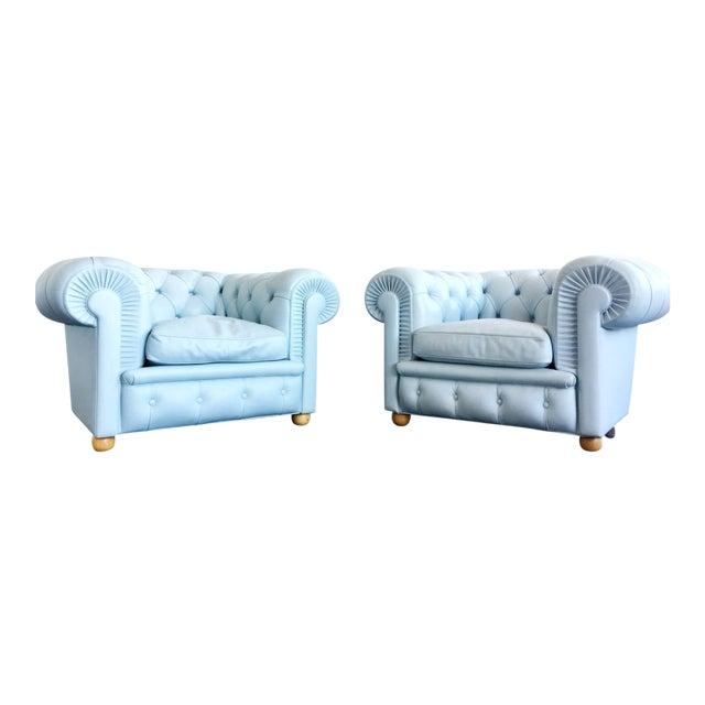 Renzo Frau for Poltrona Frau Opaline Chesterfield Armchairs - A Pair For Sale