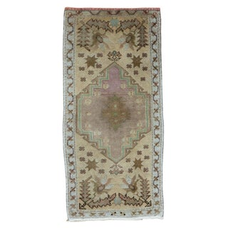 "Vintage Turkish Oushak Runner - 1'7"" x 3'4"" For Sale"