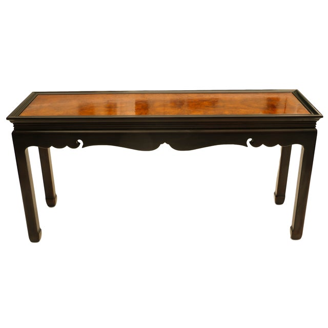 Asian Oriental Burlwood Console Table For Sale In Baltimore - Image 6 of 10