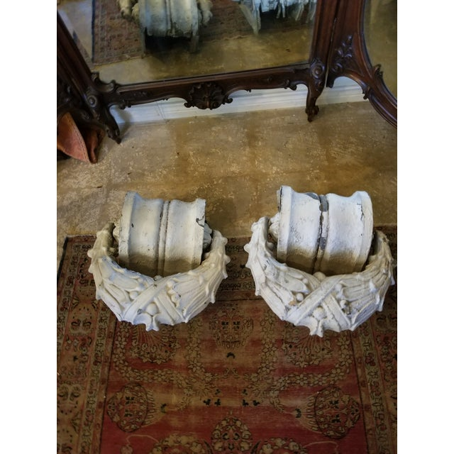 Neoclassical Crusty Antique Zinc Architectural Fragments For Sale - Image 3 of 13