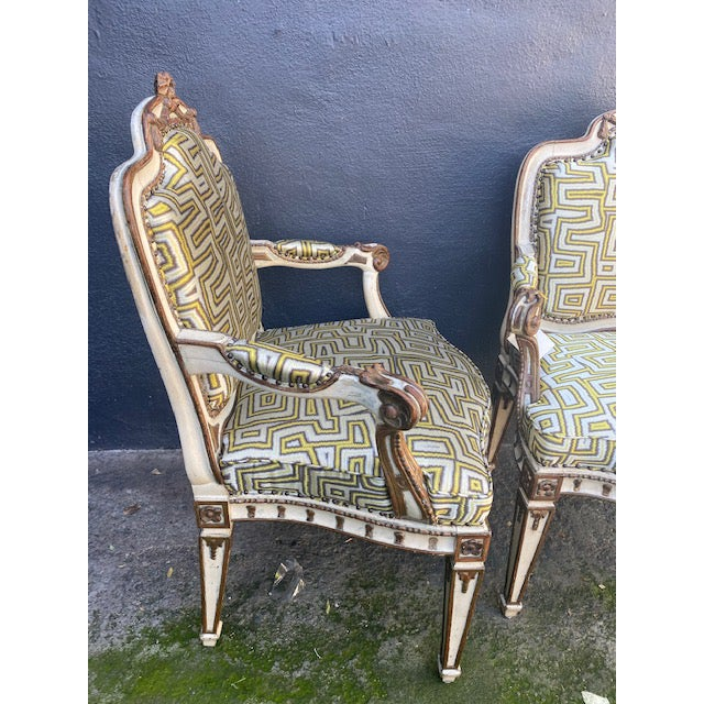 Early 19th C. Italian Painted Carved Arm Chairs- A Pair For Sale - Image 11 of 12