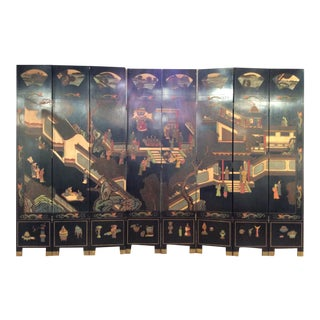 Vintage Chinoiserie 8 Panel Room Divider Screen For Sale
