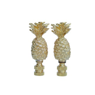 Cast Brass Pineapple Lamp Finials - a Pair