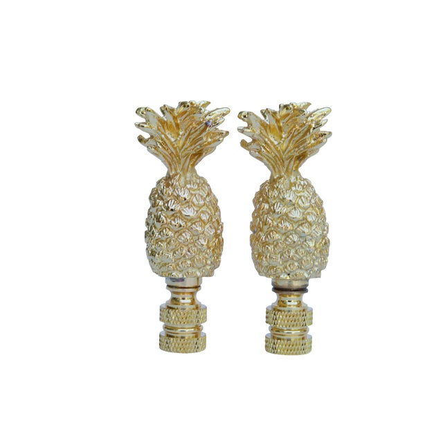 Cast Brass Pineapple Lamp Finials - a Pair For Sale