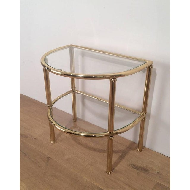 Pair of French Demi Lune Shaped Brass Side Tables For Sale - Image 5 of 10