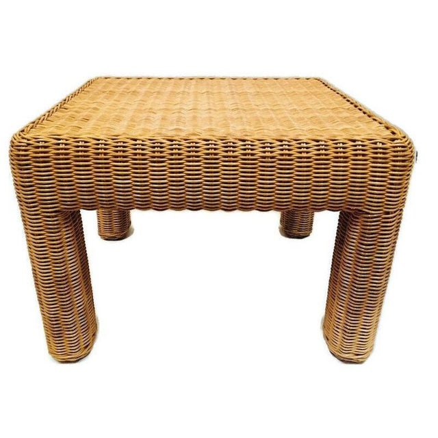 Vintage Rattan Stool / Ottoman / Square Footstool, Wicker Plant Stand or Side Table, versatile piece. From the Coastal...