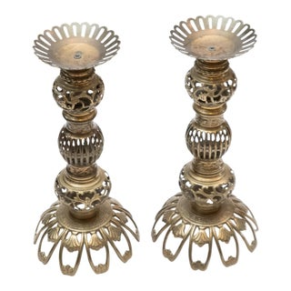 Vintage Hollywood Regency Tall Brass Ornate Floor Candle Stands - A Pair For Sale