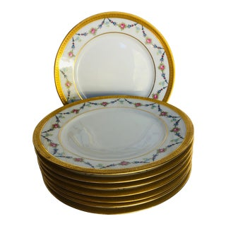 "Antique Limoges Gilded Salad / Dessert Plates S-8, 7.5"" For Sale"