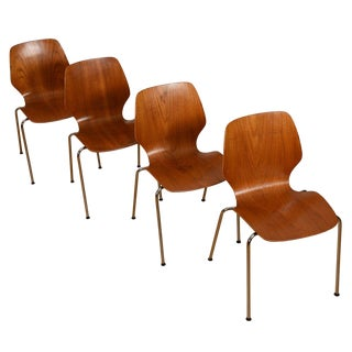 Set of 4 Stacking Teak & Chrome Dining Chairs by Westnofa For Sale
