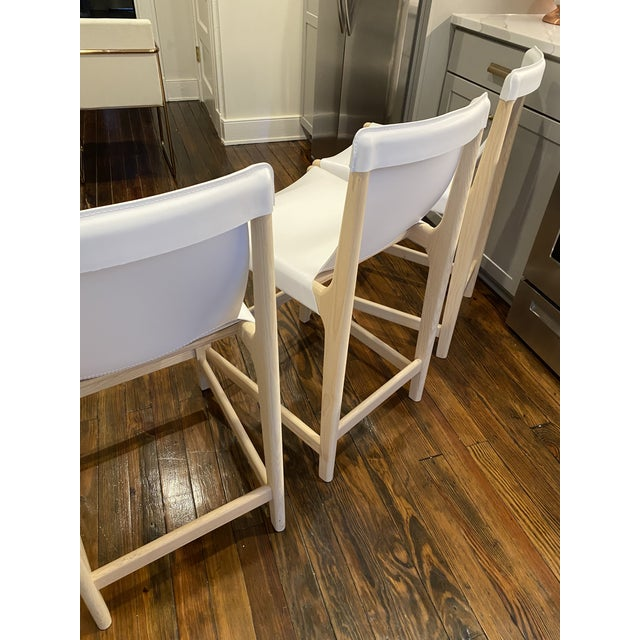 2010s Burano White Leather Sling Counter Stools- Set 3 For Sale - Image 5 of 10