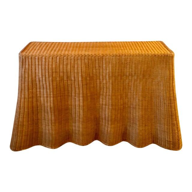 1970s Boho Chic Wrapped Rattan Wicker Tromp L'Oeil Console Sofa Table For Sale