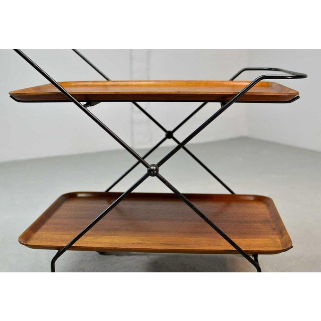 Mid-Century Design Teak and Steel Tea Trolley on Brass wheels by Paul Nagel, Germany 1950s For Sale - Image 9 of 13