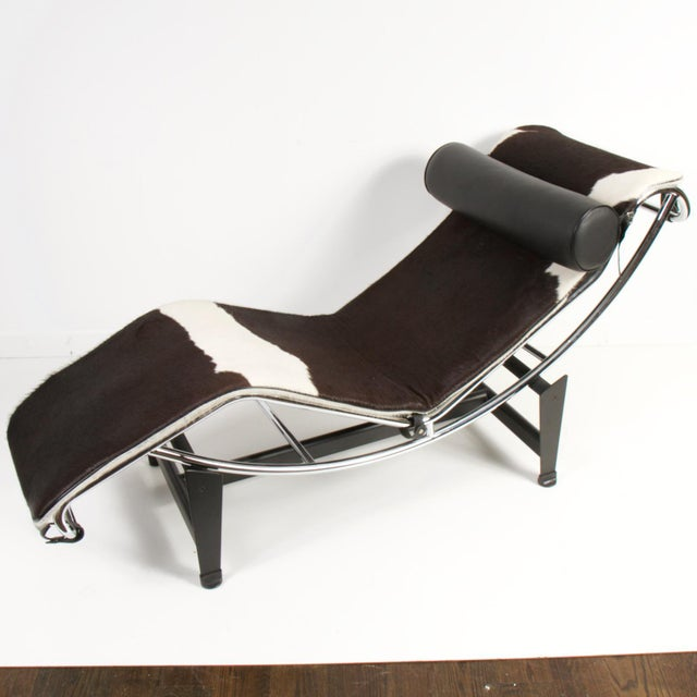 Le Corbusier Style Lc4 Cowhide and Leather Chaise Lounge For Sale - Image 10 of 10
