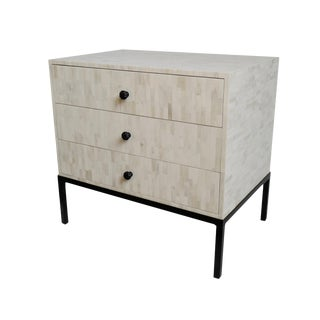 White Inlay Bedside Table For Sale