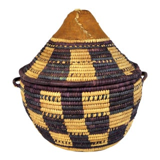 African Woven Basket With Cover For Sale