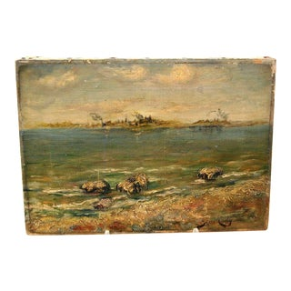 Early 20th Century Impasto Impressionist Seaside Oil Painting For Sale