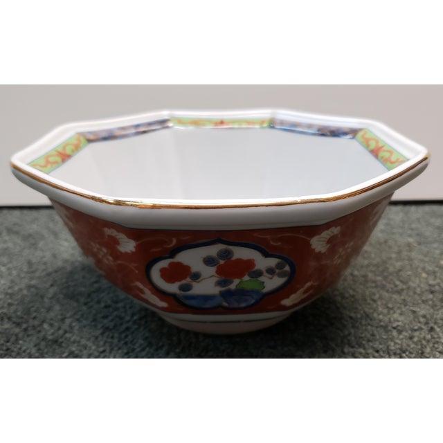 White Vintage 1970s Japanese Takahashi Imari Style Porcelain Octagonal Bowl For Sale - Image 8 of 8