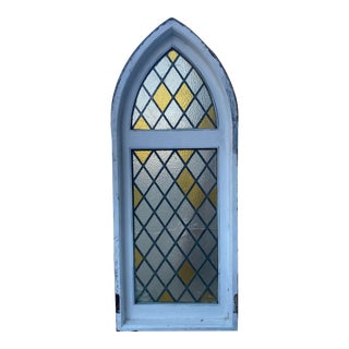 Original Spanish Tudor Cathedral Style Arced Stained Glass Window For Sale