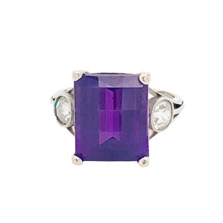Vintage Platinum Diamond & Fantasy Cut Amethyst Ring For Sale