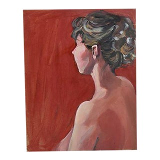 Midcentury Female Semi Nude Oil Painting