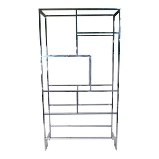1970's Mid Century Modern Milo Baughman Chrome Etagere or Bookcase No Glass