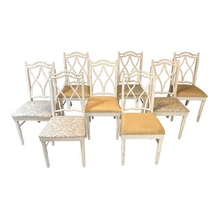 Vintage Thomasville Faux Bamboo Chinoiserie Hollywood Regency Chairs - Set of 8 For Sale