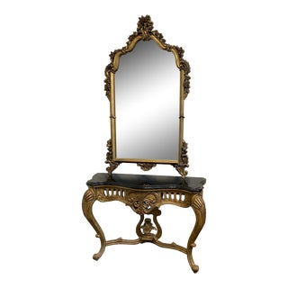 Rococo Style Mirror and Marble Gilded Console Table Set - 2 Pieces For Sale