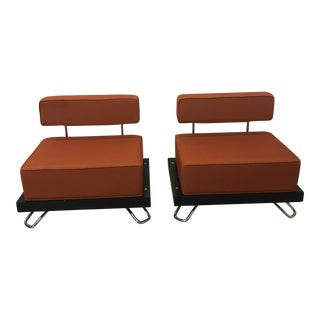 Orange Steelcase Contemporary Style Chairs - A Pair