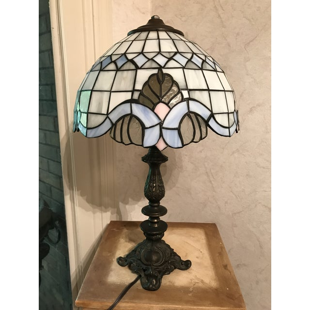 Tiffany Style Vintage Stained Glass Lamp Shade, Brushed Gold Base,Victorian Boudoir, Reduced Final For Sale In Birmingham - Image 6 of 12