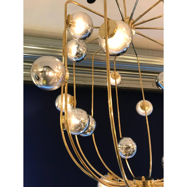 Huge oversize contemporary chandelier brass cage with blown Murano glass balls silver. Very decorative. Few production...