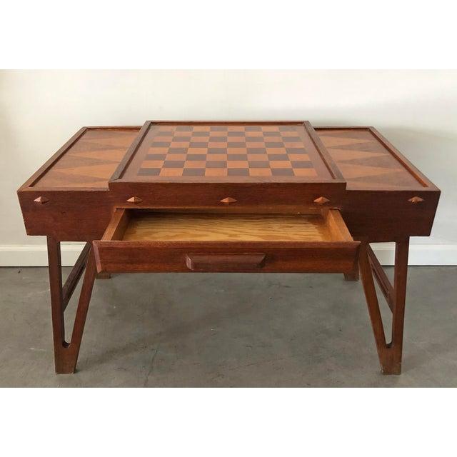 Mid Century Danish Modern Teak Game Table For Sale - Image 4 of 9
