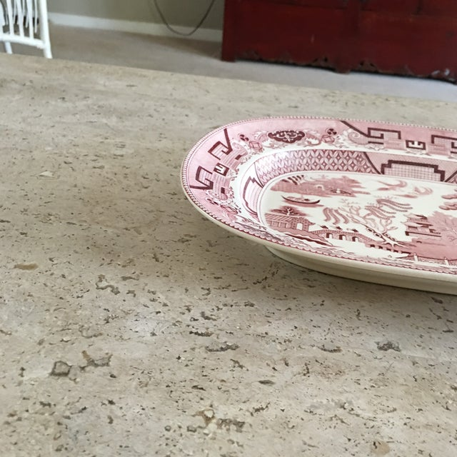 Pink 1960s Vintage Pick Willow Ware With Pagoda Pattern For Sale - Image 8 of 12