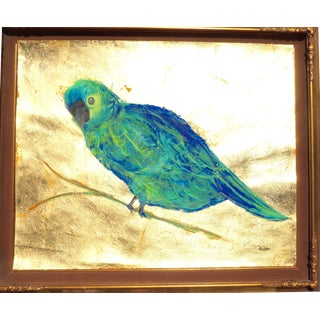 Parrot Portrait in a Gilded Gold Frame For Sale