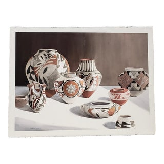 """Camille Young (American, 20th C.) """"Southwest Pottery"""" Original Watercolor C.1987 For Sale"""