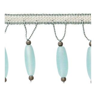 Sample, Scalamandre Vionnet Beaded Fringe, Aquamarine Fabric For Sale