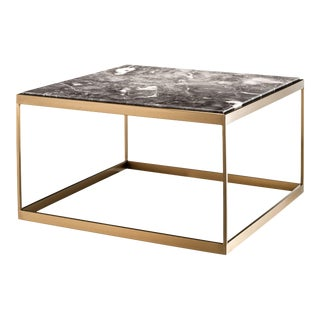 Eichholtz La Quinta Marble Top Brass Frame Side Table For Sale