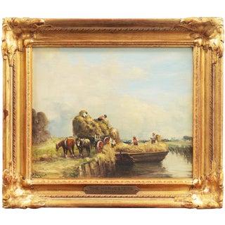 'The Harvesters' by Nicolas Briganti, Circa 1895; Massachusetts Artist, Impressionist Figural Oil Landscape For Sale