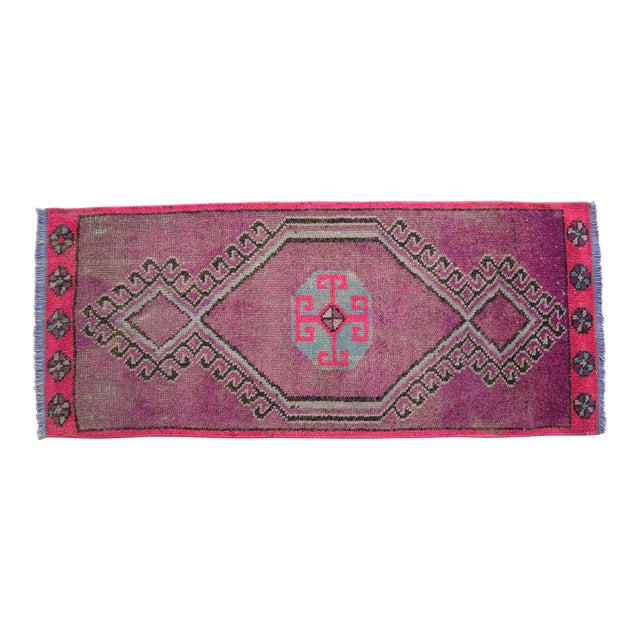 Distressed Low Pile Turkish Yastik Petite Rug Low Pile Faded Mat - 17'' X 40'' For Sale
