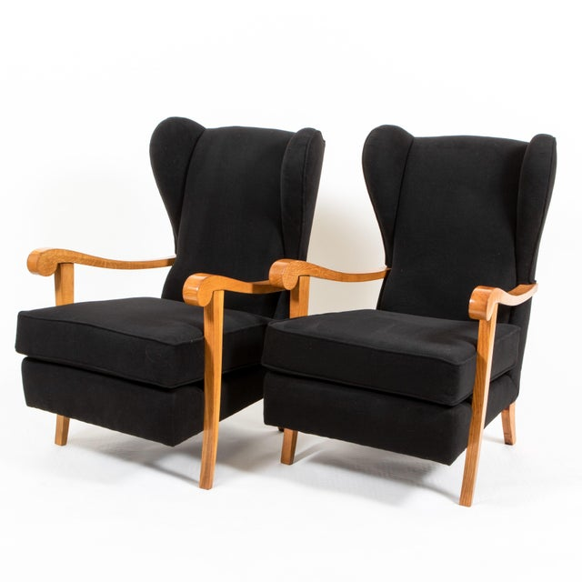 1940s Oak and Black Wool High Back Armchairs - a Pair For Sale - Image 4 of 4