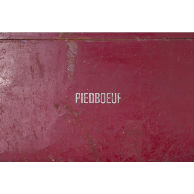 French Industrial Iron Folding Table with Red Base, circa 1920 For Sale In Houston - Image 6 of 6