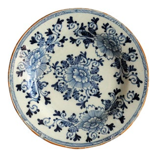 18th-Century Antique Dutch Delft Plate, Signed, Hatchet Mark For Sale