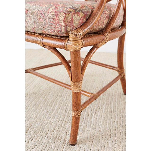 McGuire Rattan Chinoiserie Dining Armchairs - Set of 8 For Sale - Image 11 of 13