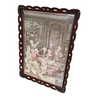 Antique Art Nouveau Carved Mahogany Picture Frame For Sale