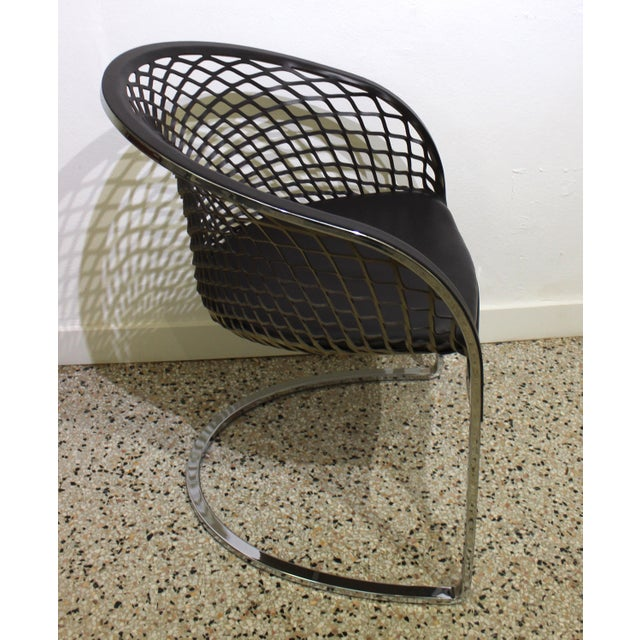 Modern Vintage Mateograssi Dining Chairs in Leather & Chrome - Set of 6 For Sale - Image 3 of 13
