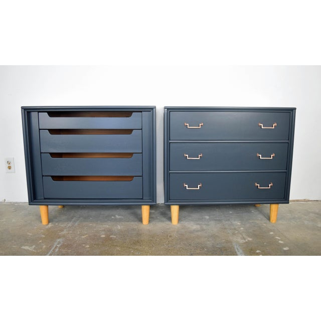 Mid Century Modern Mismatch Black Large Nightstands - a Pair For Sale - Image 13 of 13