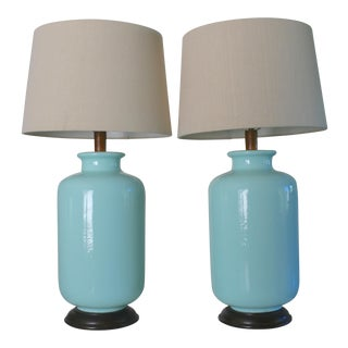 1960s Mid-Century Modern Aqua Porcelain Table Lamps - a Pair